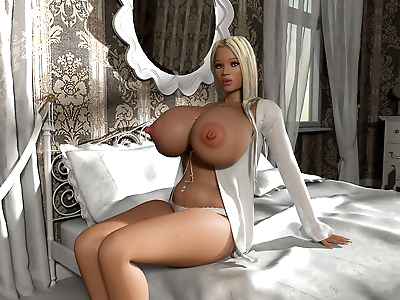 Blonde 3d hottie shows her..