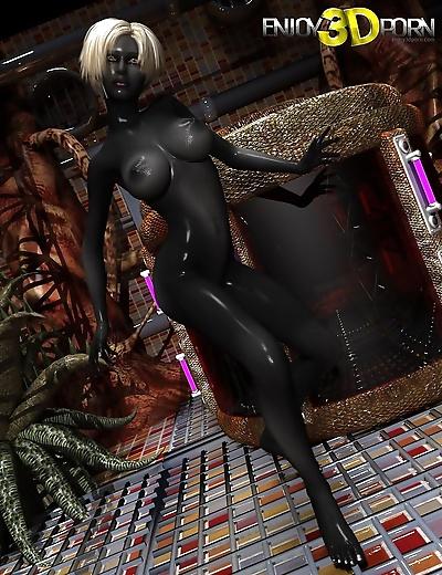 Jet black skin on this naked..