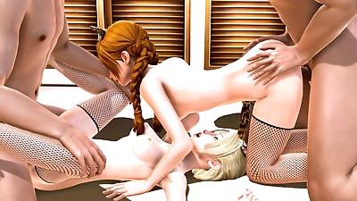 Elsa and Anna Cat Girls -..
