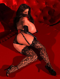 Sexy 3d brunette in slutty lingerie exposing her large tits - part 440